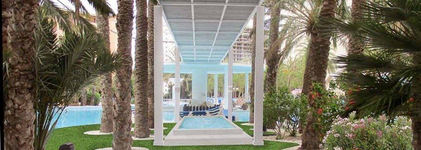 Jacuzzi exterior y acceso a Lago-Piscina Magic Tropical Splash Aparthotel