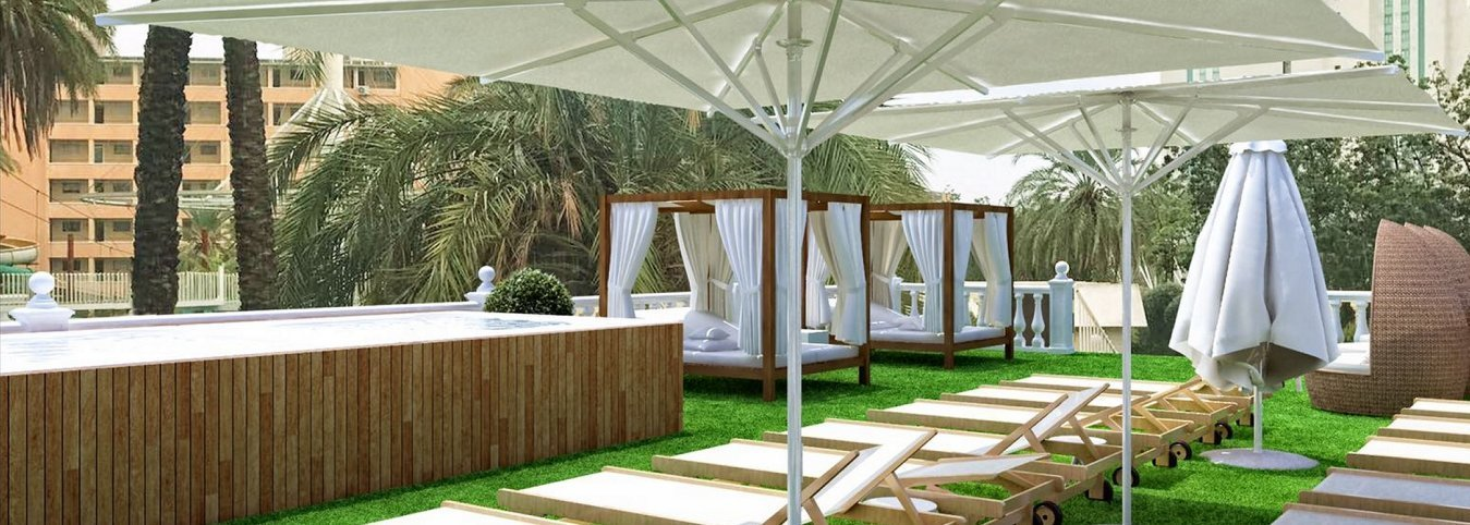 Solarium and Balinese beds Magic Tropical Splash Water Park, Spa & Caribbean Resort Aparthotel